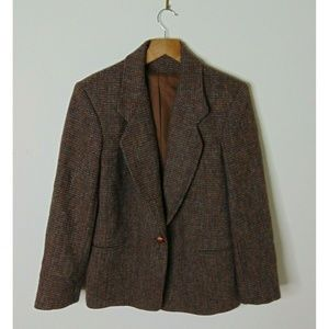 Harris Tweed 6 Herringbone Blazer Sport Coat Brown